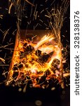 flying sparks from barbecue... | Shutterstock . vector #328138376