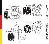 deutsch alphabet. lion  mouse ... | Shutterstock .eps vector #328140695
