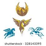 Four Different Pegasus Vector...