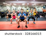 fit people working out in... | Shutterstock . vector #328166015