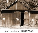 Old Abandoned Shed In Sepia