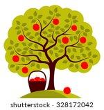 vector apple tree and basket of ... | Shutterstock .eps vector #328172042