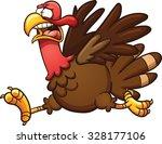 scared cartoon turkey. vector...