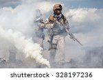 navy seals team with weapons in ... | Shutterstock . vector #328197236
