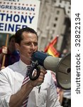 NEW YORK - JUNE 28: US congressman Anthony Weiner attends pride parade on June 28 2009 in New York City. - stock photo