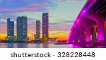 miami florida at sunset ... | Shutterstock . vector #328228448