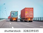 container trucks on the bridge  ... | Shutterstock . vector #328239335