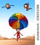 three people skydiving...   Shutterstock .eps vector #328241588