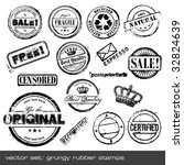 set of different grungy rubber... | Shutterstock .eps vector #32824639