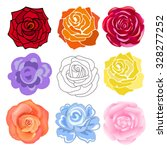 Varicolored Roses Set Isolated...