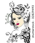 vector floral girl | Shutterstock .eps vector #32829493