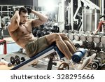 guy bodybuilder   execute... | Shutterstock . vector #328295666