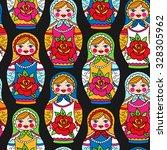 multicolor russian nesting... | Shutterstock .eps vector #328305962