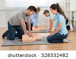 group of students learning cpr... | Shutterstock . vector #328332482