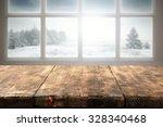 winter window and wooden table... | Shutterstock . vector #328340468