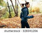 Runner Caucasian Woman Jogging...