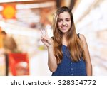 young cute woman doing a... | Shutterstock . vector #328354772