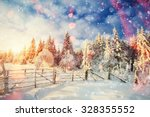winter landscape trees and... | Shutterstock . vector #328355552