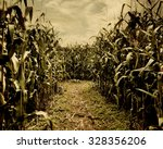 a scary corn field halloween... | Shutterstock . vector #328356206
