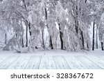 Winter Background With Wooden...