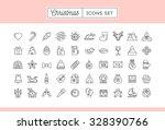 set of 50 thin line christmas... | Shutterstock .eps vector #328390766