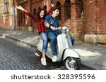 smiling young couple  wearing... | Shutterstock . vector #328395596