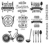 set of vintage food related... | Shutterstock .eps vector #328413386