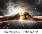 close up of two fists hitting... | Shutterstock . vector #328416572