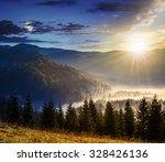 fir trees in fog on hillside of mountain range with coniferous forest and meadow. composite image day and night with full moon - stock photo