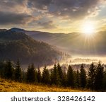 cold fog with hot sunset in conifer forest in  mountains - stock photo