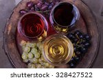 red  rose and white glasses of... | Shutterstock . vector #328427522