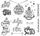 collection of merry christmas... | Shutterstock .eps vector #328456442