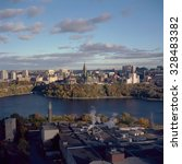 Small photo of OTTAWA - 18 OCTOBER: Close federal election is just one day away in Ottawa on 18 October 2015. Aerial photo of parliament from Gatineau.