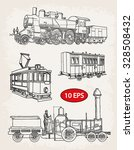 vintage set of rail transport | Shutterstock .eps vector #328508432