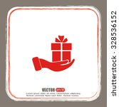 vector icon gift in hand | Shutterstock .eps vector #328536152