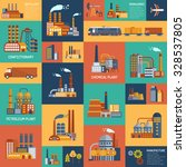 flat color icons set with... | Shutterstock .eps vector #328537805