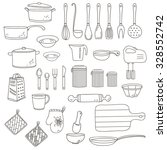 set of linear kitchen items for ... | Shutterstock .eps vector #328552742