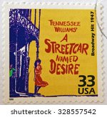 Small photo of UNITED STATES OF AMERICA - CIRCA 1999: a stamp printed in USA showing an image of the Broadway play A Streetcar Named Desire by Tennessee Williams, circa 1999.