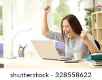 euphoric winner watching a... | Shutterstock . vector #328558622