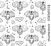 cartoon pattern with monsters... | Shutterstock .eps vector #328560218