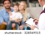 young happy family of three... | Shutterstock . vector #328569515