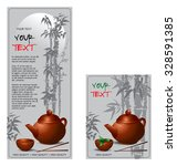 banners set with teapot and cup ... | Shutterstock .eps vector #328591385