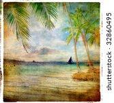 tropical sunset   retro styled...   Shutterstock . vector #32860495