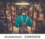worker on a automotive spare... | Shutterstock . vector #328606046