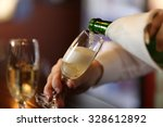 bartender pouring champagne... | Shutterstock . vector #328612892