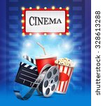 cinema background with popcorn... | Shutterstock .eps vector #328613288