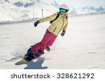 woman snowboarding on a sunny... | Shutterstock . vector #328621292