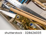 overhead view of hand tools... | Shutterstock . vector #328626035