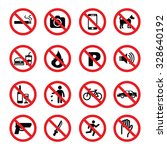 set of prohibition sign  vector ...