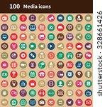 media 100 icons universal set... | Shutterstock . vector #328661426